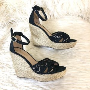 Candie's Women Black Canvas Ankle Strap Wedge